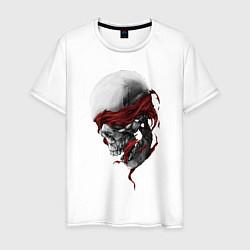 Футболка хлопковая мужская Череп Skull цвета белый — фото 1