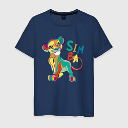 Мужская хлопковая футболка с принтом Симба Львёнок, цвет: тёмно-синий, артикул: 10266104100001 — фото 1