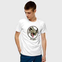 Мужская хлопковая футболка с принтом Me inside, цвет: белый, артикул: 10266247900001 — фото 2