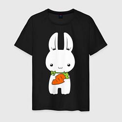 Мужская хлопковая футболка с принтом Зайчик с морковкой, цвет: черный, артикул: 10026933000001 — фото 1