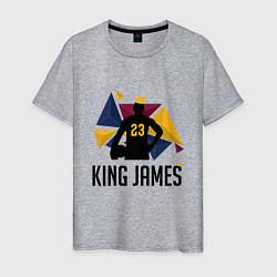 Мужская хлопковая футболка с принтом King James, цвет: меланж, артикул: 10274111500001 — фото 1