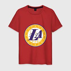 Мужская хлопковая футболка с принтом LA Lakers, цвет: красный, артикул: 10274328500001 — фото 1