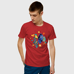 Футболка хлопковая мужская Дори цвета красный — фото 2
