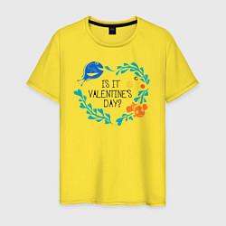 Футболка хлопковая мужская Is It Valentines Day? цвета желтый — фото 1