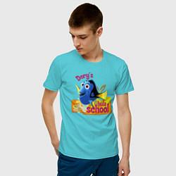 Футболка хлопковая мужская Dorys Hula School цвета бирюзовый — фото 2