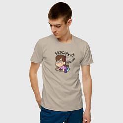 Мужская хлопковая футболка с принтом Безудержное веселье, цвет: миндальный, артикул: 10275098100001 — фото 2