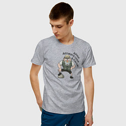 Мужская хлопковая футболка с принтом Дамы, держите себя в руках!, цвет: меланж, артикул: 10275113500001 — фото 2