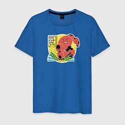 Футболка хлопковая мужская Бэймакс цвета синий — фото 1