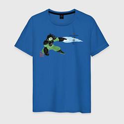 Футболка хлопковая мужская Васаби цвета синий — фото 1