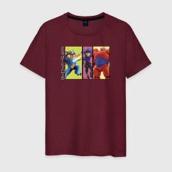 Футболка хлопковая мужская Big Hero 6 цвета меланж-бордовый — фото 1