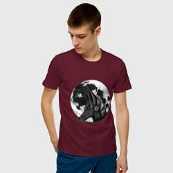 Футболка хлопковая мужская Анубис цвета меланж-бордовый — фото 2