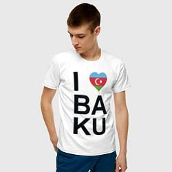 Футболка хлопковая мужская Baku цвета белый — фото 2