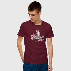 Футболка хлопковая мужская Thumper цвета меланж-бордовый — фото 2