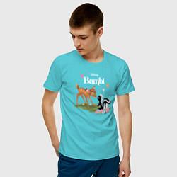 Футболка хлопковая мужская Flower and Bambi цвета бирюзовый — фото 2