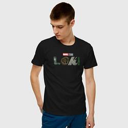 Футболка хлопковая мужская Локи Marvel белый лого цвета черный — фото 2
