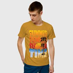 Футболка хлопковая мужская SUMMER TIME цвета горчичный — фото 2