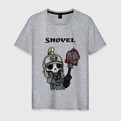 Футболка хлопковая мужская Shovel цвета меланж — фото 1