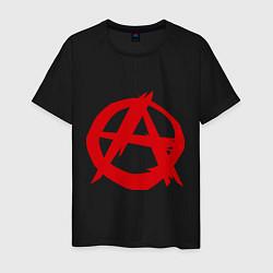 Футболка хлопковая мужская Символ анархии цвета черный — фото 1