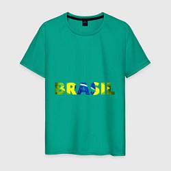 Футболка хлопковая мужская BRASIL 2014 цвета зеленый — фото 1