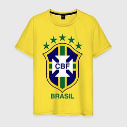 Футболка хлопковая мужская Brasil CBF цвета желтый — фото 1