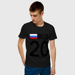 Мужская хлопковая футболка с принтом RUS 20, цвет: черный, артикул: 10036148100001 — фото 2