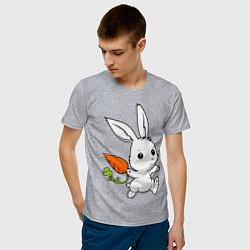 Футболка хлопковая мужская Зайка с морковкой цвета меланж — фото 2