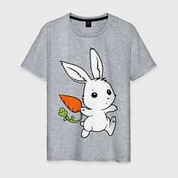 Мужская хлопковая футболка с принтом Зайка с морковкой, цвет: меланж, артикул: 10043960100001 — фото 1