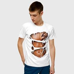 Футболка хлопковая мужская Торс с тату цвета белый — фото 2