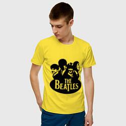 Футболка хлопковая мужская The Beatles Band цвета желтый — фото 2