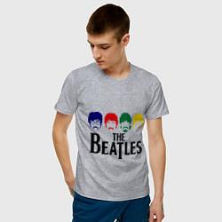 Футболка хлопковая мужская The Beatles Heads цвета меланж — фото 2