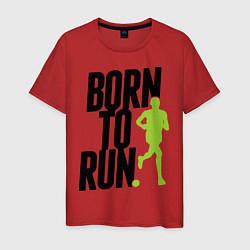 Мужская хлопковая футболка с принтом Рожден для бега, цвет: красный, артикул: 10045407600001 — фото 1