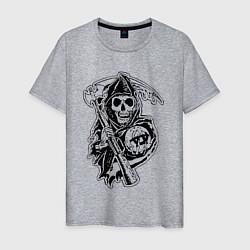 Футболка хлопковая мужская Sons Of Anarchy: Death цвета меланж — фото 1