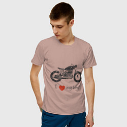 Футболка хлопковая мужская Люблю свой байк цвета пыльно-розовый — фото 2
