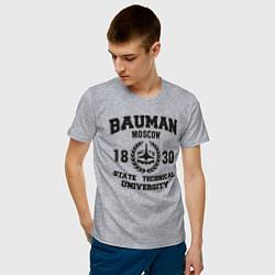Футболка хлопковая мужская BAUMAN University цвета меланж — фото 2