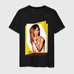Футболка хлопковая мужская Rihanna цвета черный — фото 1
