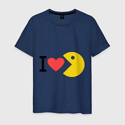 Футболка хлопковая мужская I love Packman цвета тёмно-синий — фото 1