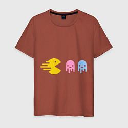 Футболка хлопковая мужская Pac-Man: Fast Eat цвета кирпичный — фото 1