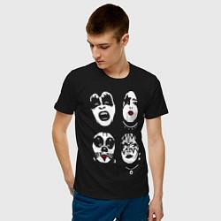Футболка хлопковая мужская Kiss Faces цвета черный — фото 2