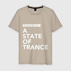 Мужская хлопковая футболка с принтом Together in A State of Trance, цвет: миндальный, артикул: 10058970800001 — фото 1