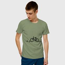 Футболка хлопковая мужская Велоспорт цвета авокадо — фото 2