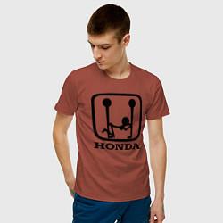 Мужская хлопковая футболка с принтом Honda Logo Sexy, цвет: кирпичный, артикул: 10066247600001 — фото 2
