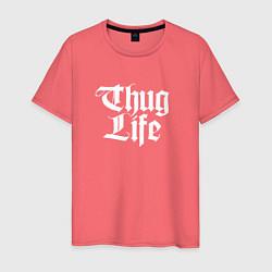 Мужская хлопковая футболка с принтом Thug Life: 2Pac, цвет: коралловый, артикул: 10068710600001 — фото 1
