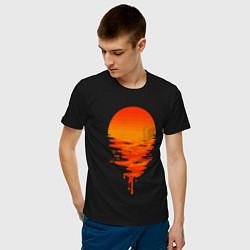 Футболка хлопковая мужская Sunset цвета черный — фото 2