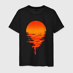 Футболка хлопковая мужская Sunset цвета черный — фото 1