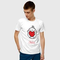 Мужская хлопковая футболка с принтом Влюбленный Кролик Моланг, цвет: белый, артикул: 10090199300001 — фото 2