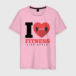 Футболка хлопковая мужская I love Fitness цвета светло-розовый — фото 1