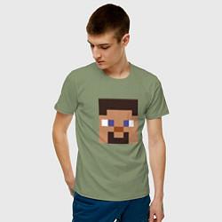 Футболка хлопковая мужская Minecraft: Man Face цвета авокадо — фото 2