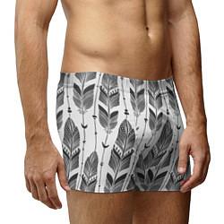 Трусы-боксеры мужские Перья цвета 3D-принт — фото 2