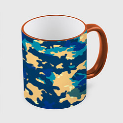 Кружка 3D Камуфляж: голубой/желтый цвета 3D-оранжевый кант — фото 1