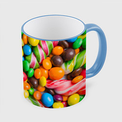Кружка 3D Сладкие конфетки цвета 3D-небесно-голубой кант — фото 1